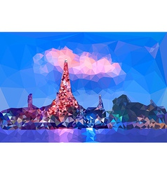 Low poly of Wat Arun temple vector image