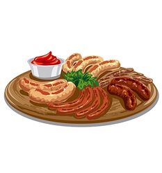 grilled roasted sausages vector image vector image