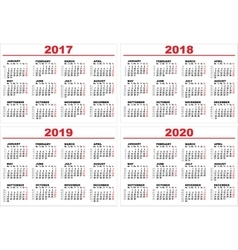 Set grid wall calendar for 2017 2018 2019 2020 vector image