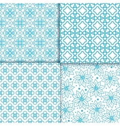 Simple floral blue color pattern set vector