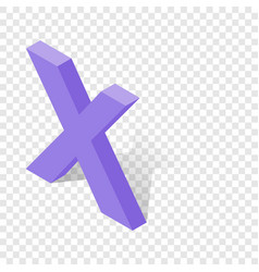 x letter in isometric 3d style with shadow vector image