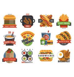fast food flat label logo emblem restaurant tasty vector image