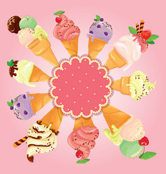 greeting card with round frame and ice cream cones vector image vector image