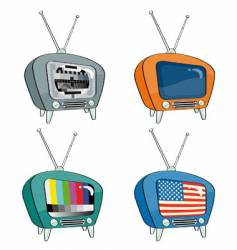 old-style televisions vector image vector image