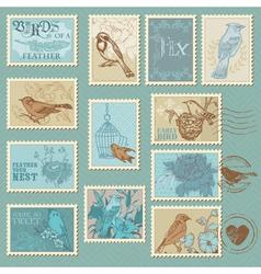 Retro bird postage stamps vector