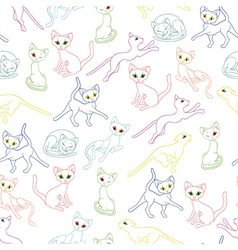 Seamless with colorful cat contours vector