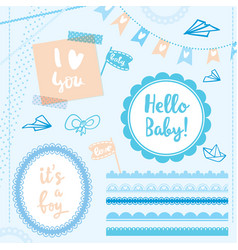 set elements hello baby boy vector image