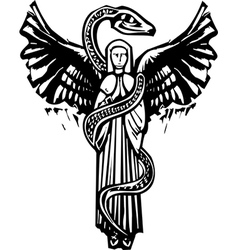 Winged Angel and Serpent vector image vector image