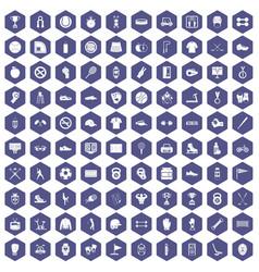 100 sport equipment icons hexagon purple vector image