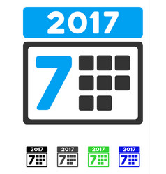 2017 year 7th day flat icon vector
