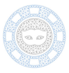 Anonymous casino chip polygonal frame mesh vector