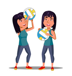 asian girl in sports form playing volleyball vector image