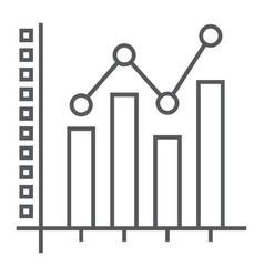 bar graph thin line icon growth and chart vector image
