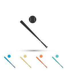 baseball ball and bat icon on white background vector image