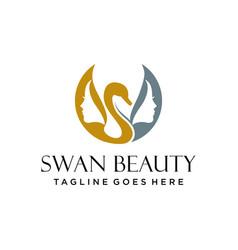 Beauty swan logo design woman spa logo de vector