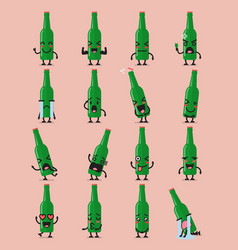 Beer bottle character emoji set vector
