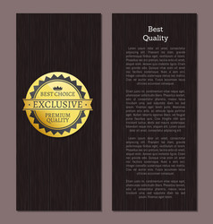 Best quality premium choice exclusive label poster vector