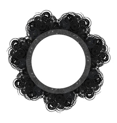 Black lacy round vintage frame with text space vector image