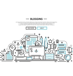 Blogging - line design website banner vector image