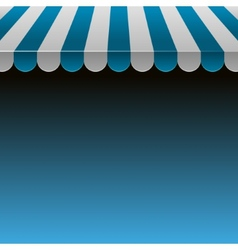 Blue and white strip shop awning with space vector