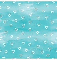 Blue pattern background with hearts vector