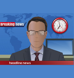Breaking news news announcer in the studio vector