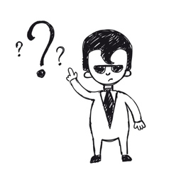 Business man on a question mark vector image