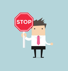 businessman showing stop road sign vector image