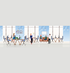 Businesspeople office workers successful teamwork vector