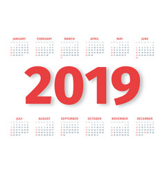 calendar 2019 week starts on sunday vector image
