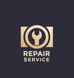 camera repair service logo template vector image