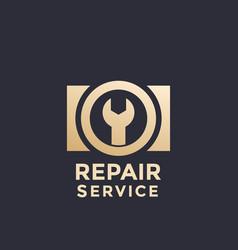 Camera repair service logo template vector