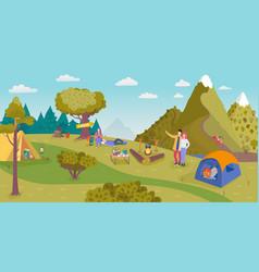 Camping in nature cartoon vector