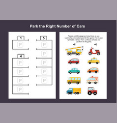 Car parking lot printable game template for kids vector