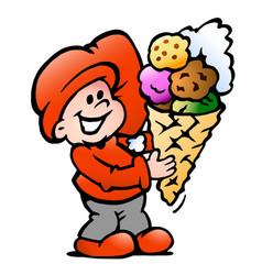 Cartoon an happy elf with a ice cream cone vector