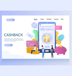 cashback website landing page design vector image