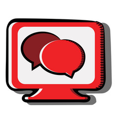 chat bubbles on computer screen conversation vector image