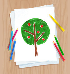 Child drawing of tree vector