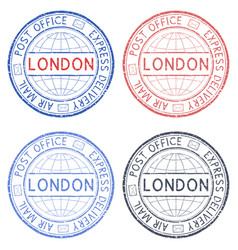 Colored postmarks london express delivery round vector