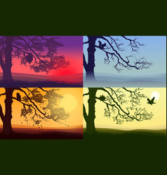 Colorful nature landscapes set vector