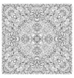 Coloring book square page for adults - floral vector image