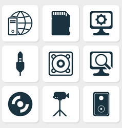 computer icons set with computer settings speaker vector image