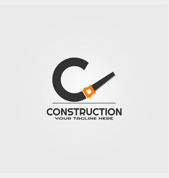 construction logo template with initials c letter vector image