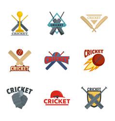 Cricket sport ball bat logo icons set flat style vector