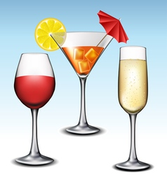 Different glass with drink set vector image