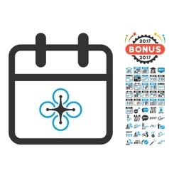 Drone Day Flat Icon with 2017 Year Bonus vector image