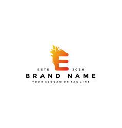 E letter logo fire design vector