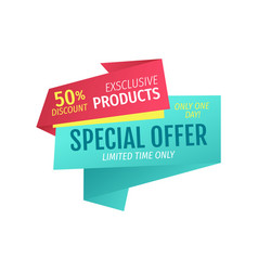 exclusive products for half price one day offer vector image