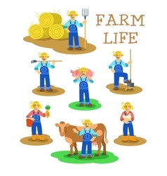 Farmers men and women working on farm vector image