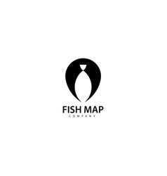 Fish map logo design icon vector